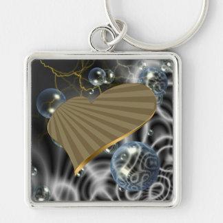 Corazón de torneado del oro llavero cuadrado plateado