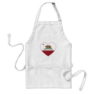 corazón de torrance de la bandera de California Delantal