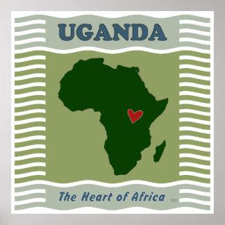 Corazón de Uganda de África Poster