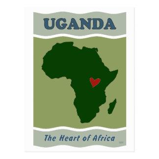 Corazón de Uganda de África Postales