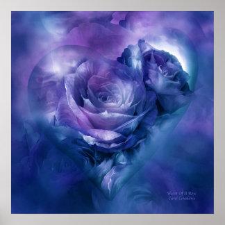 Corazón de un color de rosa - poster/impresión azu