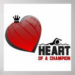 Corazón de un poster de la natación del campeón