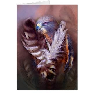 Corazón de una tarjeta del arte del halcón