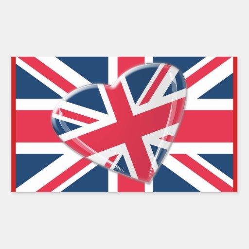 Corazón de Union Jack y arte vivaces de la bandera Pegatina Rectangular