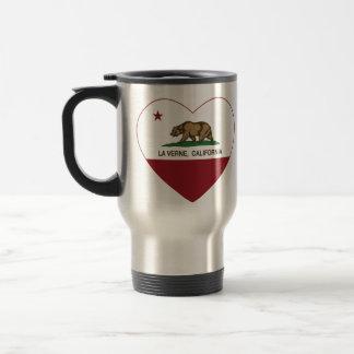 corazón de verne del la de la bandera de Californi Taza De Viaje De Acero Inoxidable