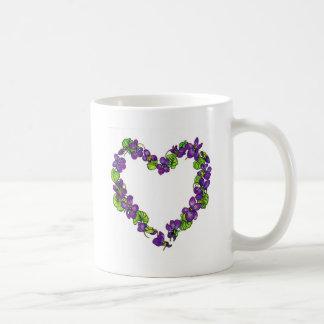 Corazón de violetas taza de café