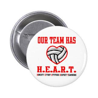 Corazón de VolleyChick Pin Redondo De 2 Pulgadas
