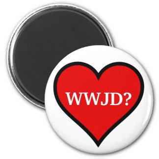 Corazón de WWJD Imán Redondo 5 Cm