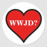 Corazón de WWJD Pegatina Redonda