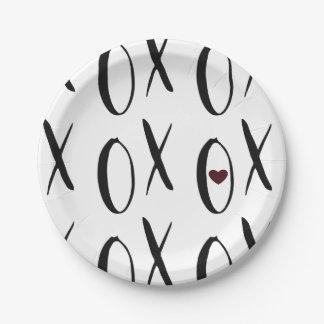 Corazón de XOXO Plato De Papel De 7 Pulgadas