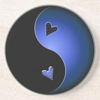 corazón de yang del yin - azul posavasos cerveza