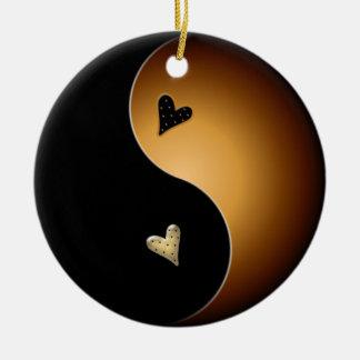 corazón de yang del yin - caramelo adorno redondo de cerámica