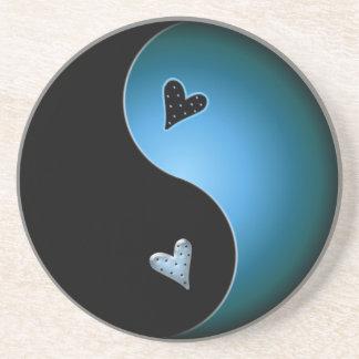 corazón de yang del yin - turquesa posavasos manualidades