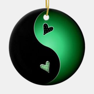 corazón de yang del yin - verde adorno redondo de cerámica