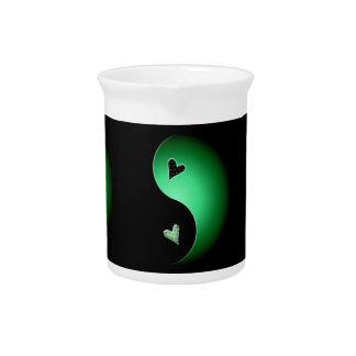 corazón de yang del yin - verde jarra para bebida