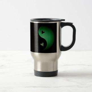 corazón de yang del yin - verde taza de viaje