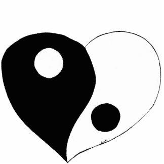 Corazón de Yin Yang B W Escultura Fotografica