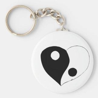 Corazón de Yin Yang (B/W) Llavero Personalizado