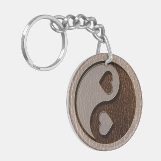 Corazón de Yin Yang de la Cuero-Mirada suave Llavero Redondo Acrílico A Doble Cara