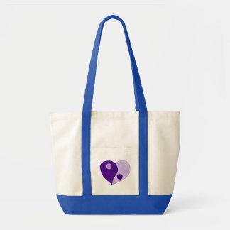 Corazón de Yin Yang (púrpura/lila) Bolsa Tela Impulso