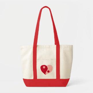 Corazón de Yin Yang (rojo/rosa) Bolsa Tela Impulso