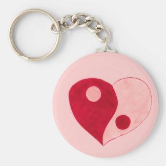 Corazón de Yin Yang (rojo/rosa) Llaveros