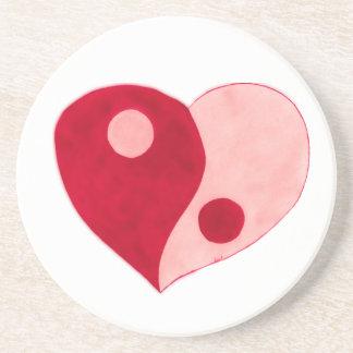 Corazón de Yin Yang (rojo/rosa) Posavaso Para Bebida