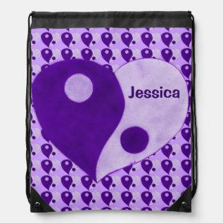 Corazón de Ying Yang (púrpura/lila) Mochila