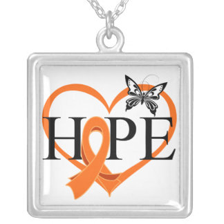 Corazón Décor de la mariposa de la esperanza del c Colgante Cuadrado