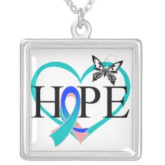 Corazón Décor de la mariposa de la esperanza del c Collar Personalizado