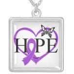 Corazón Décor de la mariposa de la esperanza del c Collares Personalizados