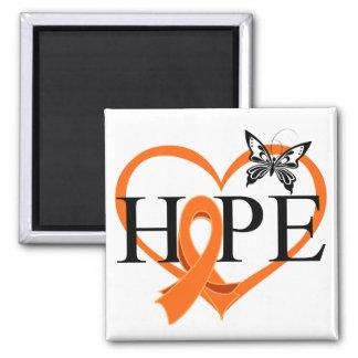 Corazón Décor v2 de la mariposa de la esperanza de Imán Cuadrado
