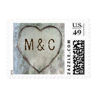 Corazón del abedul tallado casando sellos