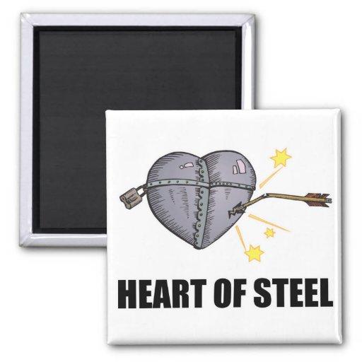 corazón del acero imán de nevera