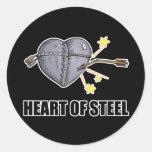 corazón del acero pegatina redonda