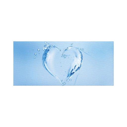 Corazón del agua azul lona envuelta para galerías