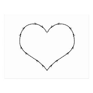 Corazón del alambre de púas postal