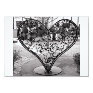 Corazón del alambre invitación 12,7 x 17,8 cm