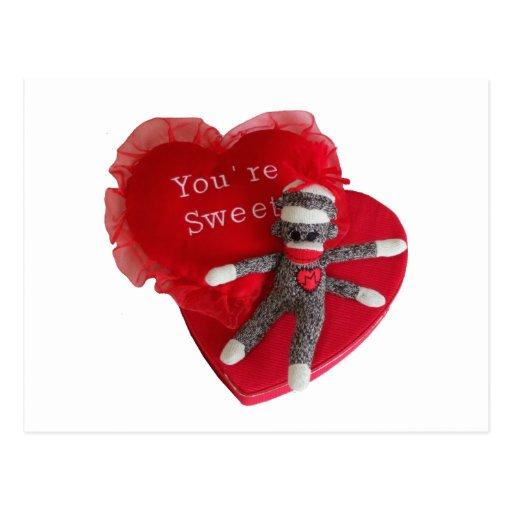 Corazón del amor #8 del mono del calcetín usted es postal