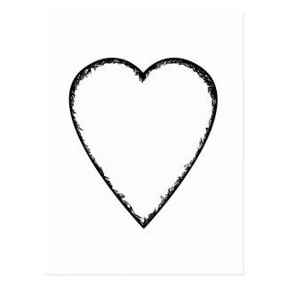 Corazón del amor con el borde del garabato postales