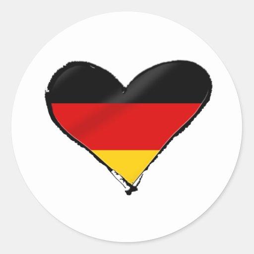 Corazón del amor de Alemania - mi corazón alemán Pegatina Redonda