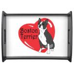 Corazón del amor de Boston Terrier Bandeja