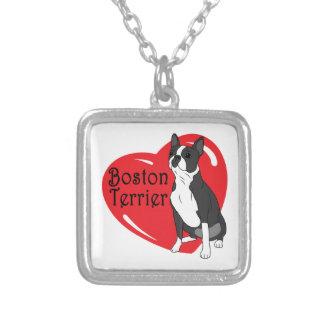 Corazón del amor de Boston Terrier Colgante Cuadrado