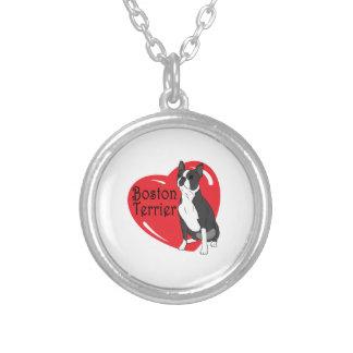 Corazón del amor de Boston Terrier Colgante Redondo