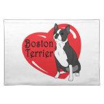Corazón del amor de Boston Terrier Mantel Individual