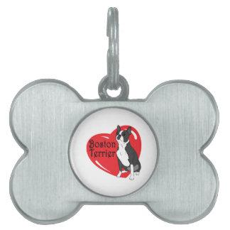 Corazón del amor de Boston Terrier Placa De Nombre De Mascota