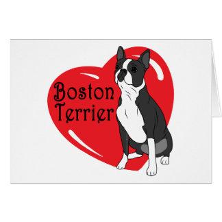 Corazón del amor de Boston Terrier Felicitaciones