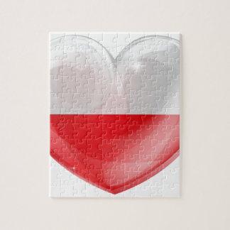 Corazón del amor de la bandera de Polonia Puzzles Con Fotos