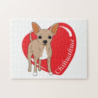 Corazón del amor de la chihuahua puzzle