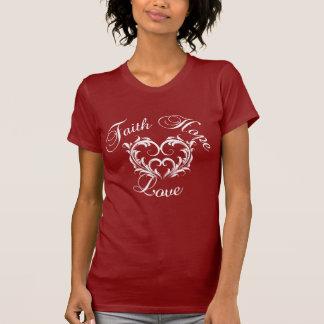 Corazón del amor de la esperanza de la fe camisetas